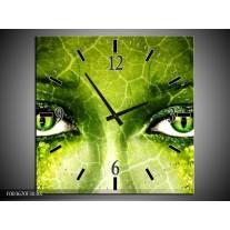 Wandklok op Canvas Gezicht | Kleur: Groen, Wit, Zwart | F003670C