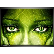 Glas schilderij Gezicht   Groen, Wit, Zwart