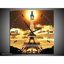 Wandklok op Canvas Eiffeltoren | Kleur: Geel, Goud, Zwart | F003679C
