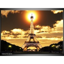 Glas schilderij Eiffeltoren   Geel, Goud, Zwart