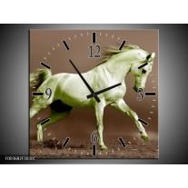 Wandklok op Canvas Paard | Kleur: Bruin, Groen | F003682C