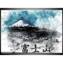 Foto canvas schilderij Bergen   Blauw, Wit, Zwart