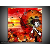 Wandklok op Canvas Abstract | Kleur: Rood, Geel, Zwart | F003686C