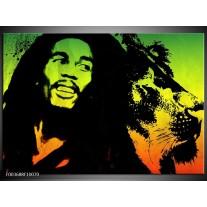 Foto canvas schilderij Man | Groen, Zwart, Oranje