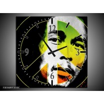 Wandklok op Canvas Man | Kleur: Groen, Zwart, Oranje | F003689C