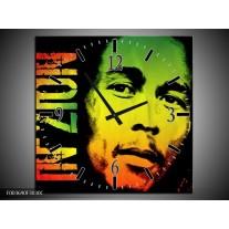Wandklok op Canvas Man | Kleur: Groen, Zwart, Oranje | F003690C