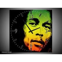 Wandklok op Canvas Man | Kleur: Groen, Zwart, Oranje | F003691C