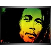 Glas schilderij Man | Groen, Zwart, Oranje