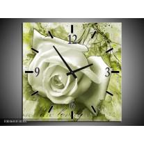 Wandklok op Canvas Roos | Kleur: Groen, Wit | F003693C