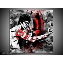 Wandklok op Canvas Sport | Kleur: Zwart, Rood, Wit | F003695C