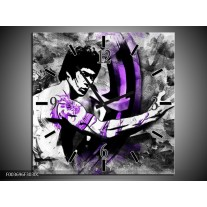 Wandklok op Canvas Sport | Kleur: Zwart, Paars, Wit | F003696C