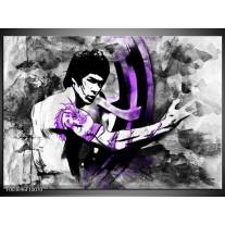 Glas schilderij Sport | Zwart, Paars, Wit