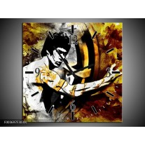 Wandklok op Canvas Sport | Kleur: Geel, Grijs, Zwart | F003697C