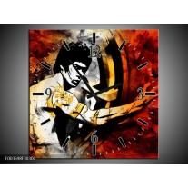 Wandklok op Canvas Sport | Kleur: Rood, Geel, Zwart | F003698C