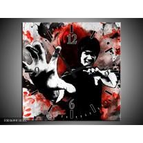 Wandklok op Canvas Sport | Kleur: Rood, Zwart, Wit | F003699C