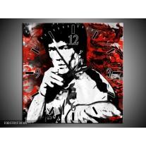 Wandklok op Canvas Sport | Kleur: Rood, Zwart, Wit | F003701C