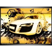 Glas schilderij Audi | Geel, Zwart, Wit