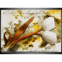Foto canvas schilderij Tulp | Wit, Bruin, Geel