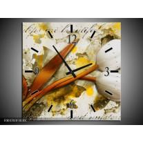Wandklok op Canvas Tulp | Kleur: Wit, Bruin, Geel | F003703C