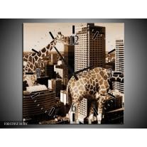 Wandklok op Canvas Giraffe | Kleur: Bruin, Wit | F003705C