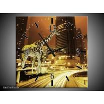 Wandklok op Canvas Giraffe   Kleur: Geel, Bruin, Zwart   F003706C