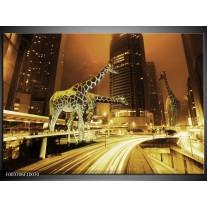Glas schilderij Giraffe | Geel, Bruin, Zwart