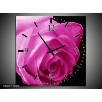 Wandklok op Canvas Roos | Kleur: Roze, Zwart | F003707C
