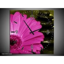 Wandklok op Canvas Bloem | Kleur: Roze, Zwart, Groen | F003709C