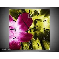 Wandklok op Canvas Bloem   Kleur: Roze, Groen, Wit   F003713C