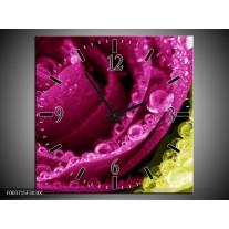 Wandklok op Canvas Paars | Kleur: Roze, Groen, Wit | F003715C