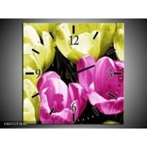 Wandklok op Canvas Krokus | Kleur: Roze, Groen, Wit | F003717C