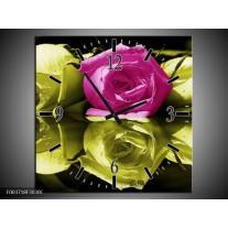 Wandklok op Canvas Roos | Kleur: Paars, Groen, Wit | F003718C
