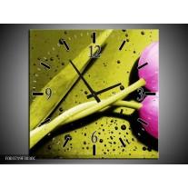 Wandklok op Canvas Tulp | Kleur: Roze, Groen, Wit | F003719C