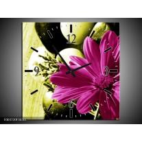 Wandklok op Canvas Bloem | Kleur: Roze, Groen, Wit | F003720C