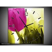 Wandklok op Canvas Tulp | Kleur: Roze, Groen, Wit | F003722C