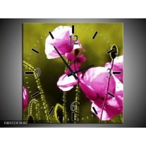 Wandklok op Canvas Klaproos | Kleur: Roze, Groen, Wit | F003723C