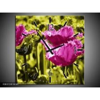 Wandklok op Canvas Tulp | Kleur: Roze, Groen, Wit | F003724C