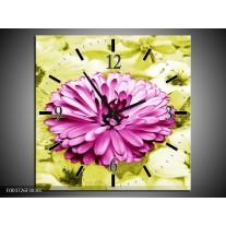 Wandklok op Canvas Bloem   Kleur: Roze, Groen, Wit   F003726C