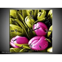 Wandklok op Canvas Tulp | Kleur: Roze, Groen, Wit | F003728C