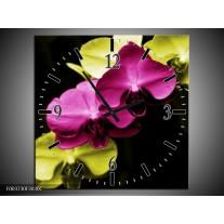 Wandklok op Canvas Orchidee | Kleur: Roze, Groen, Zwart | F003730C