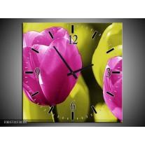 Wandklok op Canvas Tulp | Kleur: Roze, Groen, Zwart | F003731C