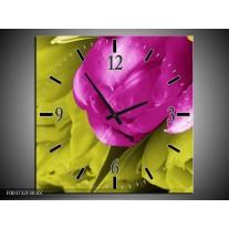 Wandklok op Canvas Tulp | Kleur: Roze, Groen, Wit | F003732C