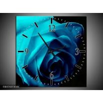 Wandklok op Canvas Roos | Kleur: Blauw, Zwart, Groen | F003743C
