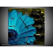 Wandklok op Canvas Bloem | Kleur: Blauw, Zwart, Groen | F003744C
