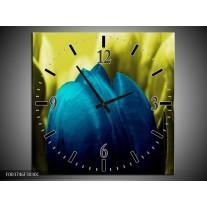 Wandklok op Canvas Tulp | Kleur: Blauw, Zwart, Groen | F003746C
