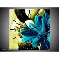 Wandklok op Canvas Bloem | Kleur: Blauw, Zwart, Groen | F003748C