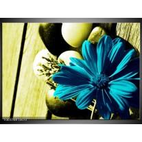 Glas schilderij Bloem   Blauw, Zwart, Groen