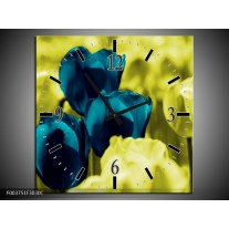 Wandklok op Canvas Tulp | Kleur: Blauw, Zwart, Groen | F003751C