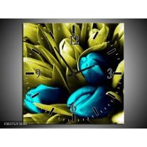 Wandklok op Canvas Tulp | Kleur: Blauw, Zwart, Groen | F003752C