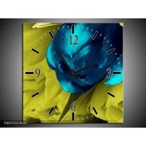 Wandklok op Canvas Tulp | Kleur: Blauw, Zwart, Groen | F003755C